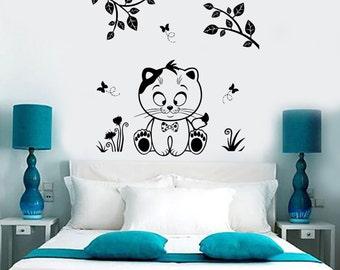 Wall Vinyl Decal Nursery Cat Kitty Kids Children Butterfly Floral Decor 1378dz