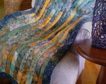 Boho style modern forest green/sage green/yellow batik lap quilt