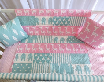 SALE -  2 PIECE SET- giraffes in pink and teal, safari nursery, quilt, skirt