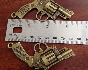 2 Large Gun Charms, Antique Bronze Charm, 3D Gun Charm, Pistol Charm, Double Sided Gun, Hand Gun Charm, Jewelry and Craft Supplies, Findings
