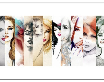 PO3323 Poster Print Beautiful woman face watercolor illustration aRT