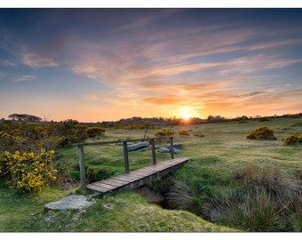 PS0236 Poster Print Sunset Wooden foot bridge over stream Bodmin Moor Cornwall