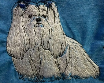 SALE! Embroidered Maltese T Shirt- Very detailed!