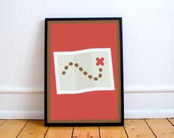 Treasure Map Print! minimalist, playroom, nursery, children's bedroom, adventure, pirates, explorer theme,