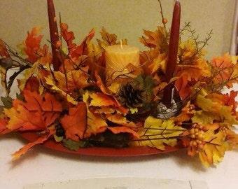 Candle Centerpiece - Fall Colors - Autumn Colors