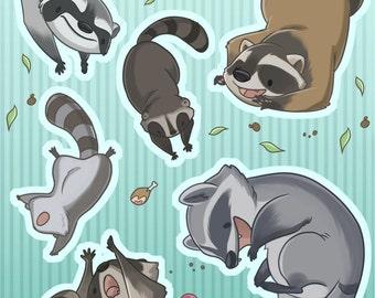 Falling Animals - Raccoon Sticker Set