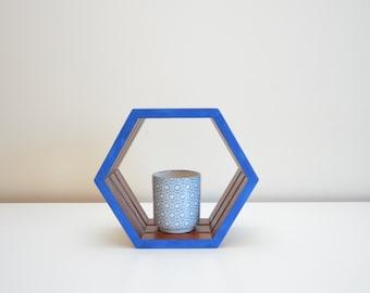 Blue Hexagon Shelf - Small Original