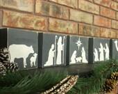 Nativity Set - Wooden Nativity Set - Christmas Nativity Set - Rustic Nativity Set - Christmas Mantel Decoration - Holiday Mantle Decoration