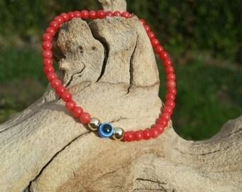 Red Coral Evil Eye Bracelet - Root Chakra