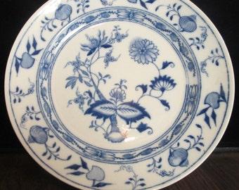 Vintage Staffordshire England Blue & White Floral Plate