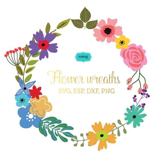 Flower Wreaths Svg Flowers Vector Graphic Flowers Monogram