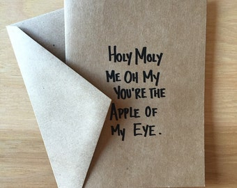 """Holy Moly Me Oh My • Edward Sharpe and the Magnetic Zeros • Valentine's Day Card • 4""""x5.5"""" kraft greeting card"""