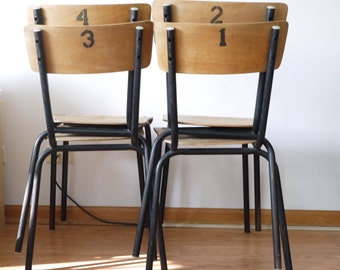 French Mullca School Chairs Weathered Wood And Base Bent Metal Tubular  Industrial Fifties Numerical Monogram