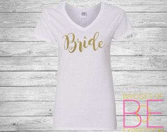 Glitter Bride Ladies Cotton V-Neck Shirt