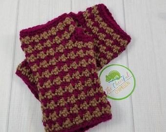 Handmade Crochet Fingerless Gloves - Houndstooth - Wrist Warmers - Fingerless Mitts - Hand Warmers - Crochet Gloves - Texting Gloves