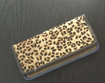 leather purse with leopard print fur,leather leopard wallet,animal print purse,leopard fur wallet,animal fur purse,indian leather wallet