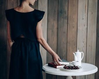Womens Linen Skirt, Wraparound Skirt, Navy Blue, Scarlet, Beige, Сheck Pattern, Skirt, Designer clothing, Linen Clothes , Womens Clothing