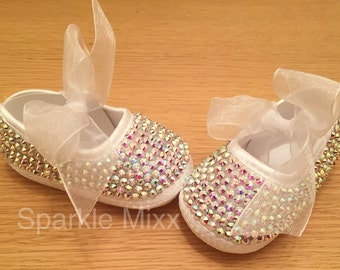 Baby Crystal Christening Shoes (wedding bling occasion)