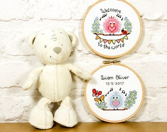 Baby birth announcement & child name template - cute easy stitch fun modern cross stitch design, birthday, welcome new baby - pattern PDF