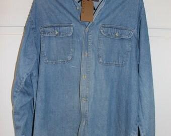 Vintage Stonewashed Denim Shirt | Large
