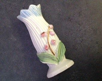 Vintage Ceramic Bud Vase Miniature Japan Lily of the Valley Pink Flowers Curio Home Decor Mid Century