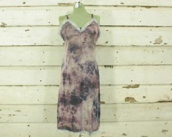 vintage 1960s tie dyed purple & blue hand dyed slip dress gown lace details M L