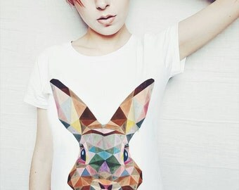 Geometric rabbit t-shirt, hand painted. Made to order! Best girlfriend gift! Easter bunny