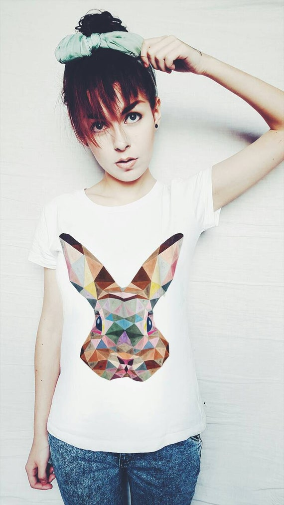 Geometric rabbit t shirt hand painted made to order best for Made to order shirts online