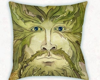 Greenman Decorative Throw Pillow // Celtic Greenman Home Decor Square Pillow