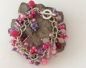 Pink and purple Charm bracelet
