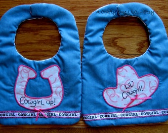 Cowgirl Baby Bib, Lil' Cowgirl Western Hat Baby Bib, Cowgirl Up Horseshoe Toddler Bib,Pink Baby Cowgirl Bib,Baby Girl Shower Gift