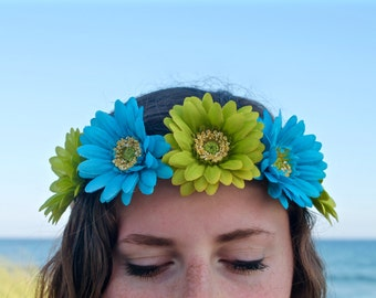 Flower Crown, Flower Headband, Floral Crown, Floral Headband, Coachella, Music Festival, Rave Accessory - Green and Blue Flowers