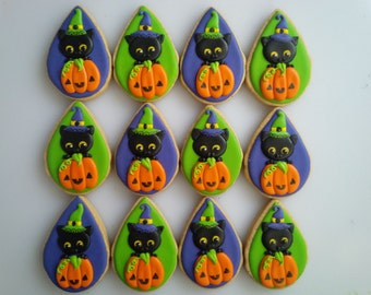 Sweet Black Cat and Jack O' Lantern Cookies - One Dozen Decorated Halloween Cookies