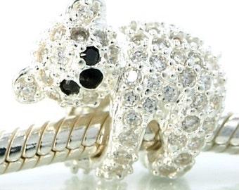 Koala Bear Encrusted Crystals Sterling Silver Bead Charm, fits Trollbeads Bracelets, Stocking Stuffer