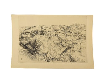 Pastoral French etching 1912 Farm in Correze Beaux Arts Edition