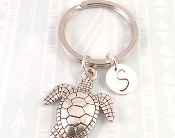 Sea turtle charm keychain, best friend keychain, good luck turtle, gift for her, friend gift, mother gift, daughter gift, for him, brother