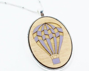 Hot Air Balloon Laser Cut Wood Necklace Hand Painted Lilac and Gold (023)