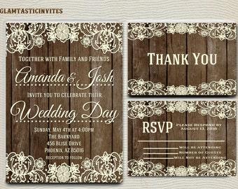Rustic Wedding Invitation Printable, Country Wedding Invitation, Digital file, Printable, wedding invitation suite, Mason Jar Weddingv