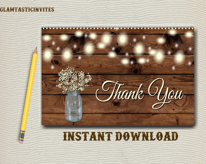 Rustic Thank You Card Printable, Digital file, Instant Download, Rustic Mason Jar Thank you Card, Wedding Thank You Card, Rustic, Wood, DIY