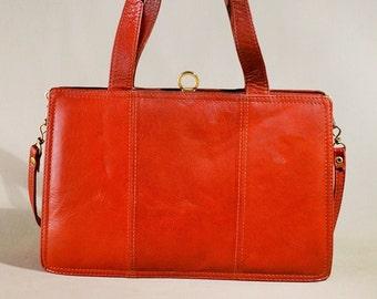 Vintage '70ties Brown Orange Leather Bag, Shoulderbag, Office Bag, Handbag, Handcarrier