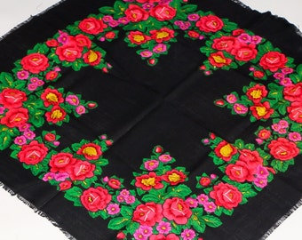 Black Women Shawl Russian Wool Shawl Black Floral Shawl Bohemian Shawl Wool Floral Shawl Babushka Shawl Floral Fabric Gypsy Shawl Women Gift