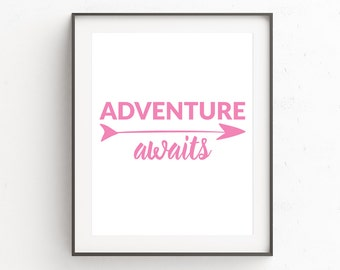 Pink White Wall Decor, Pink White Art, Inspirational Quote, Pink Print Art, Adventure Awaits Wall Print, Adventure Wall Print, Nursery Art
