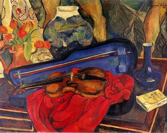 Music Violin Stillife  Musician by Painter Suzanne Valadon Vintage Poster Repro FREE SHIPPING in USA