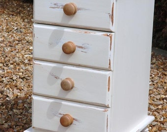 Smashing Solid Pine Shabby Chic Set of Four Drawers in Cream