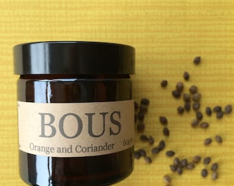 Hand Poured Soy Aromatherapy Candle - Wooden Wick- Small Batch Natural  - Travel Candle- Orange and Coriander