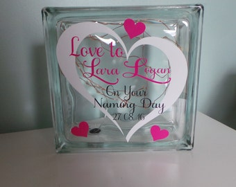 Christening Gift. / Naming Day Gift. / Confirmation Gift. / Baptism -  glass block personalised. New Baby Gift