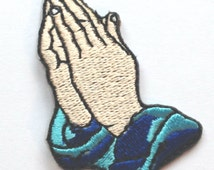 Praying Hands Emoji Prayer Patch Embroidered Iron on Badge Applique DIY Customize Collectible Fun Cool Text God Bless Christian