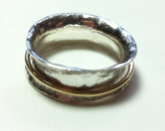 Silver & gold spinning Ring