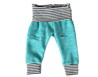 Teal and striped skinny sweatpants, baby sweats, pockets, knee patches, french terry sweatpants, modern baby