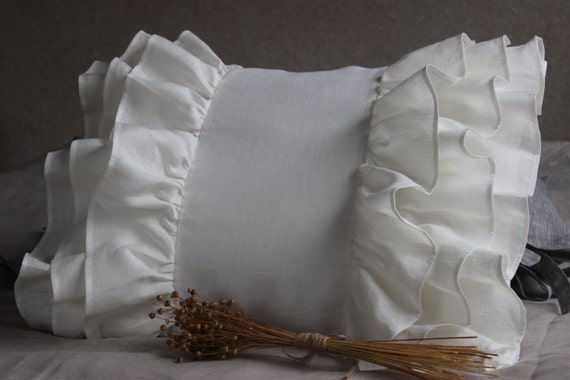 pillow sham cover slip with ruffles vintage pillowcase luxury. Black Bedroom Furniture Sets. Home Design Ideas